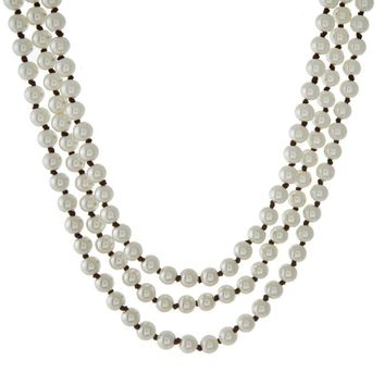 Three Row Knotted Semi-Precious Pearl Necklace with Brown Cord