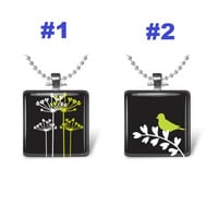 Black white yellow flowers silhouette, bird glass tile necklace, nature jewelry, foliage