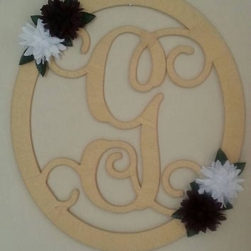 Metal monogrammed door hanger/ Spring wreath/ Wall Art--Full yarn wrapped wreath