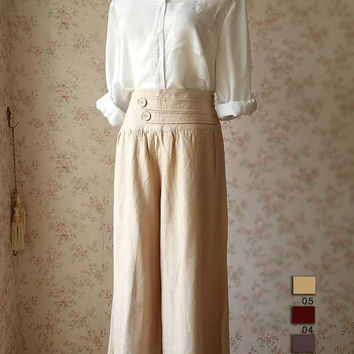 Women Plus size Pants Linen Oversize Casual Pants Linen Crop Pants - summer linen pants trousers - women plus size clothing