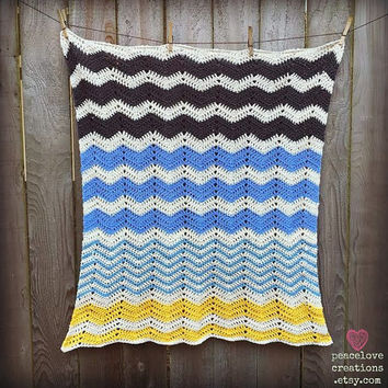 100% Cotton Crochet Chevron Baby Blanket~Ready to Ship~FREE SHIPPING
