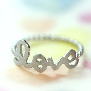Silver Neat Love Ring/ Be Written In Cursive Script Letters