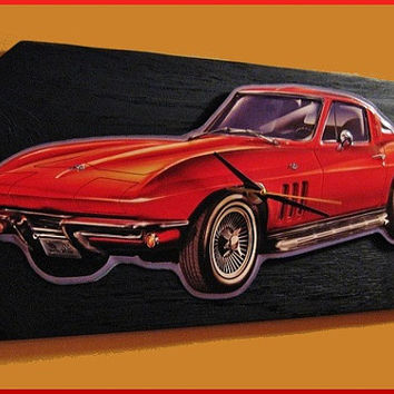 Corvette Stingray 3-D Tin Car Sign Repurposed into a Wall Clock Mounted on Wood - Man Cave Decor