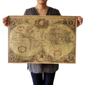 Vintage Globe Old World Map Matte Brown Paper Poster Home Wall Decor