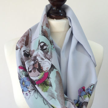 Dog Scarf Printed French Bulldog Patterned Summer Infinity Scarf Gray Colorful Chiffon Circle Scarf Women Accessories, Fast Delivery