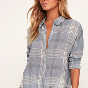 Arlow Light Blue Plaid Tie-Front Button-Up Top