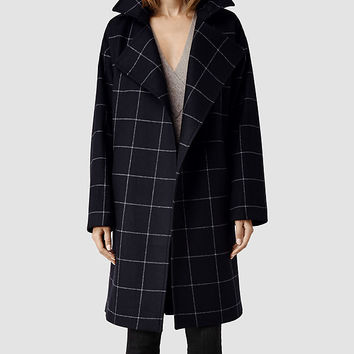 Womens Iza Coat (Ink) | ALLSAINTS.com
