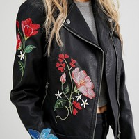 New Look Embroidered Hero Biker Jacket at asos.com