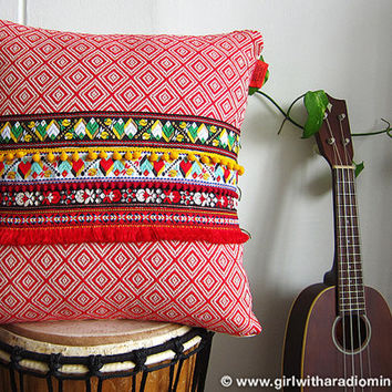 Red Ethnic Pillow - Geometric Tribal Boho Throw Pillow Cushion Cover