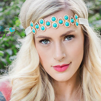 Rhinestone Headband - Turquoise Headband - Bridal Headband - Flower Girl Headband - Crystal Headband - Adult Headband - Gatsby Headband