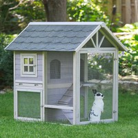 Boomer & George Tiered Outdoor Rabbit Hutch With Run | www.hayneedle.com