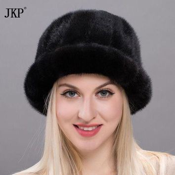CREYCI7 2017 Royal Mink Fur Winter Hats New  Fluffy Girls Casual Sun Hat Lovely Caps Women New Russian Hat BZ17-17