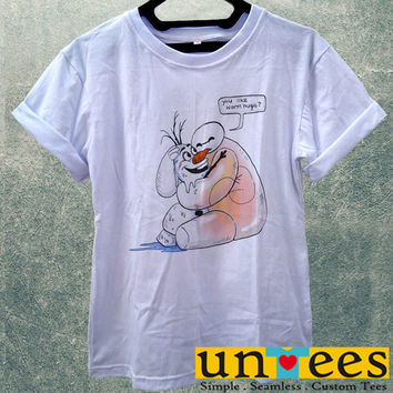 Low Price Women's Adult T-Shirt - Baymax and Olaf Big Hero 6 design
