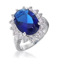 Bling Jewelry 925 Sterling Silver 4ct Simulated Sapphire Engagement Ring