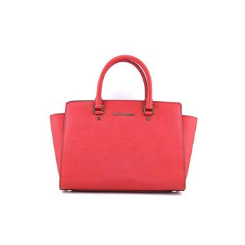 Michael Kors Selma Large Leather Satchel, Red, OS