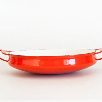 Vintage Dansk Kobenstyle Paella Pan, Early Four Ducks Mark, 10 INCH Mid Century Red Enamel Baking Dish Serving Bowl, Denmark