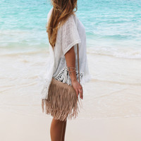 Funky Fringe Leather Crossbody in Natural