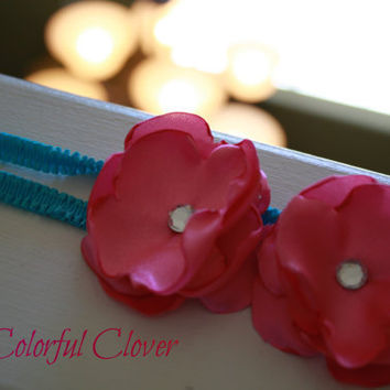 Cherry Blossom Headband. Baby Headband. Adult Hair Accessory. Gorgeous Headband. Pink and Aqua. Photo prop.