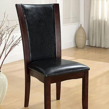 Manhattan I Contemporary Manhattan Side Chair Withpu, Dark Cherry Finish, Set of 2