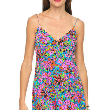 Floral Strappy Mini Pleated Dress