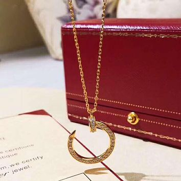 Cartier Fashion New Diamond Opening Pendant Women Necklace Golden