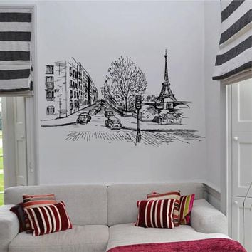 ik2684 Wall Decal Sticker France Paris street city hall bedroom