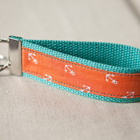Orange Tiny Anchors on Aqua Key Fob Wristlet by FairmountCreates