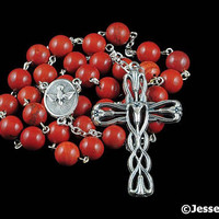 Anglican Rosary Beads Red Jasper Natural Stone Prayer Beads Silver Christian Episcopal