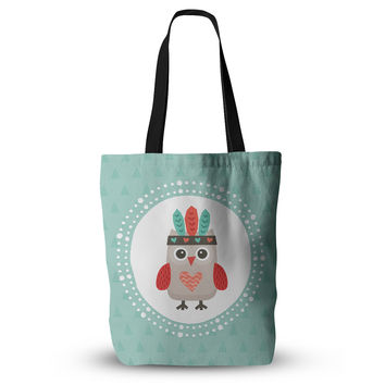 "Daisy Beatrice ""Hipster Owlet Mint Coral"" Teal Everything Tote Bag"