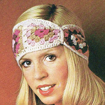 Crochet Granny Squares Headband Pattern - 1970s Turban - PDF Digital Download - Headband twist wrap - Hair Tie - Head Warmer Head Wrap
