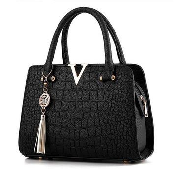 Crocodile Leather V Luxury Fringed Messenger Bag