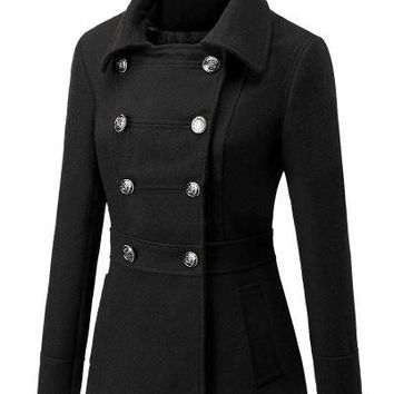 Starlist woman turn down collar double breasted slim long sleeve Black Coats England Classic Wool Blends Wine Red Jackets