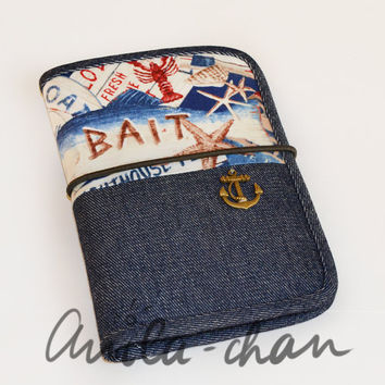 "Denim passport cover , Jeans passport wallet - cotton travel organizer, blue cardholder ""Nautical"""