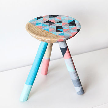 SALE Handcrafted Geometric stool