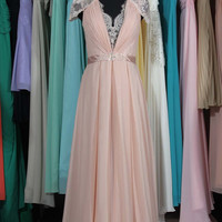 Pearl Pink Prom Dress, Lace & Chiffon Beaded Prom Dress with Lace Cap Sleeves, Charming V-neck Prom Dress with a Full Lace Back