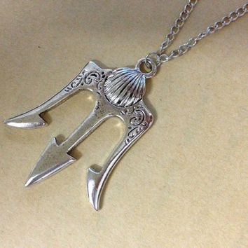 antique Silver trident Necklace Poseidon Weapons inspired ancient greek mythology jewelry