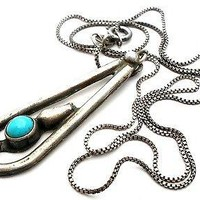 Vintage Sterling Silver Necklace with Turquoise Pendant