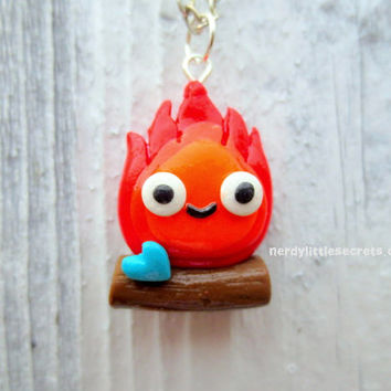 Studio Ghibli Chibi Calcifer Howl's Moving by NerdyLittleSecrets
