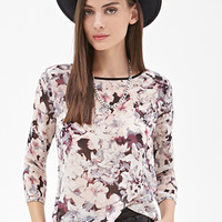 FOREVER 21 Abstract Floral Print Top Black/Blush
