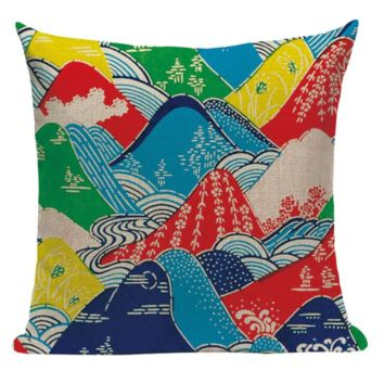 Japanese Colorful Mountains Pillow JP12