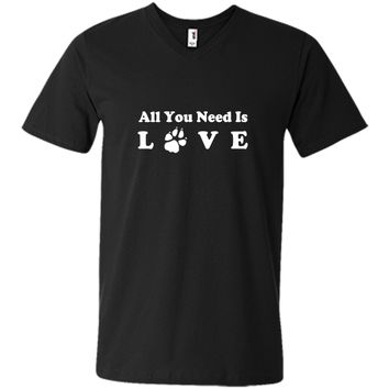 Dog T Shirt All You Need is Love Paw Footprint cool shirt