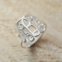 Monogram Ring Name Ring Hand Cut Script Monogrammed Sterling Silver Rings Personalized Name Ring Best gift for men / women