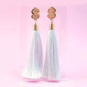 Cash $$$ Tassel Earrings - White