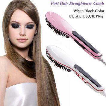 Brush Fast Hair Straightener Combs LCD Electric Flat Electric Hair Straightener Brush Straightening Irons Comb Iron Tool