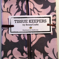 Tissue Keeper / Pocket - Cotton 2-Pack - Pink and Grey Damask & Gray and White Dot Prints