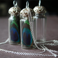 Glass vial necklace steampunk necklace sterling silver necklace peacock necklace victorian jewelry gothic pendant  bridesmaid gift ENVY