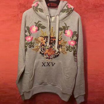 Gucci Fashion Tiger head Floral Embroidered Hooded Top Pullover Sweater Sweatshirt Hoodie