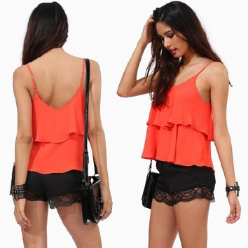 Hot Comfortable Sexy Beach Bralette Stylish Summer Spaghetti Strap Ruffle Dress Slim Chiffon Vest [6049497921]
