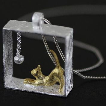 Sterling Silver Cube Cat Necklaces
