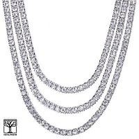 "Jewelry Kay style Men's 18"" / 22"" / 24"" Iced CZ Triple Silver Plated Tennis Chain Necklace SET"